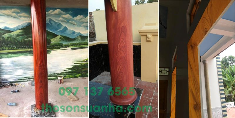Cột sơn giả vân gỗ trang trí