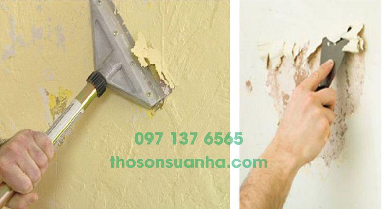 Xử lý tường trước khi sơn lại bằng sơn mới