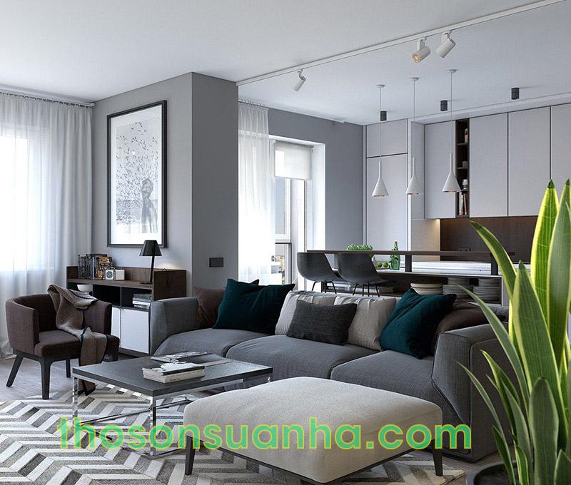 Sơn tường phòng khách màu trắng xám kết hợp với họa tiết