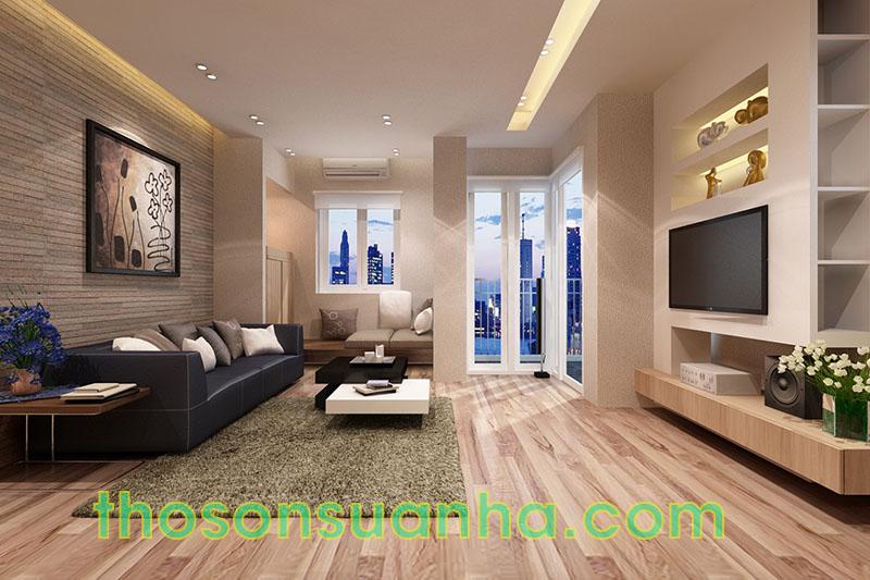 Sơn tường phòng khách màu mộc tự nhiên
