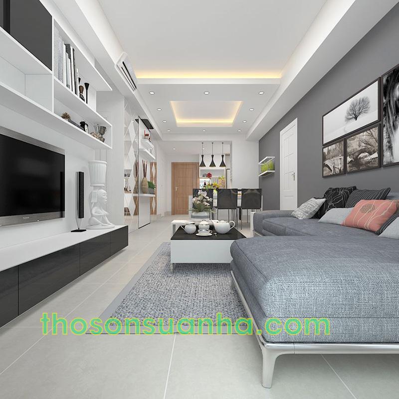 Sơn tường phòng khách màu xám ngọc trai tinh tế
