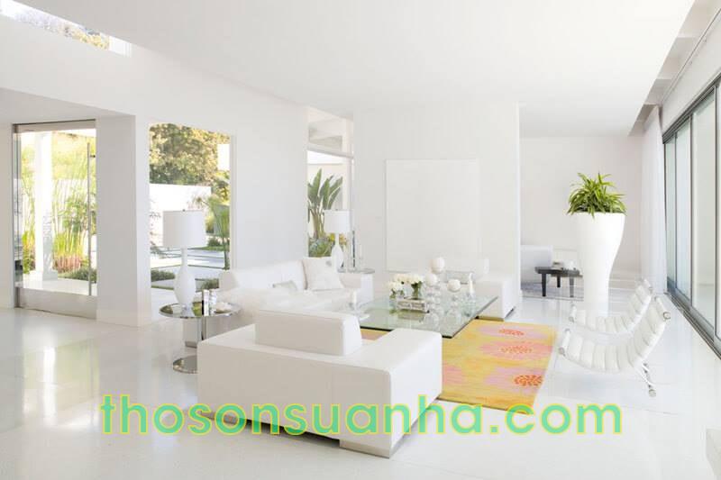 Sơn tường phòng khách màu siêu trắng