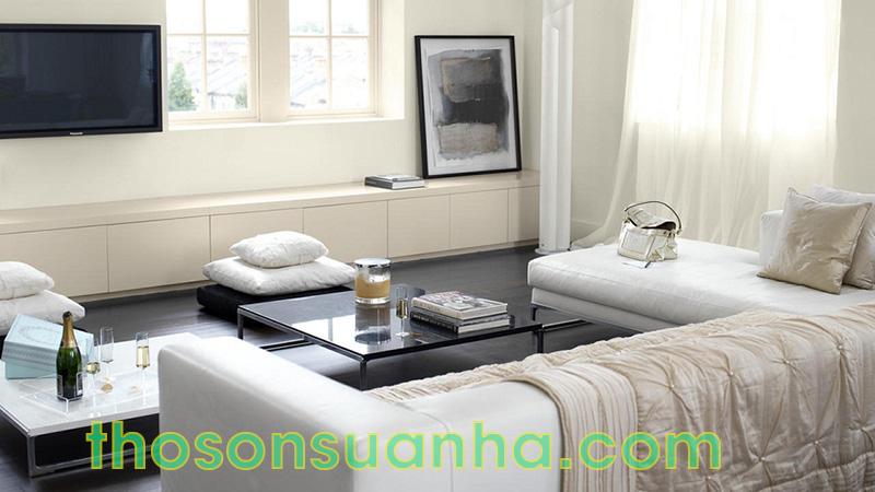 Sơn tường phòng khách màu trắng ngà dịu