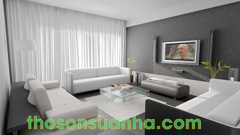 Sơn tường phòng khách màu trắng xám