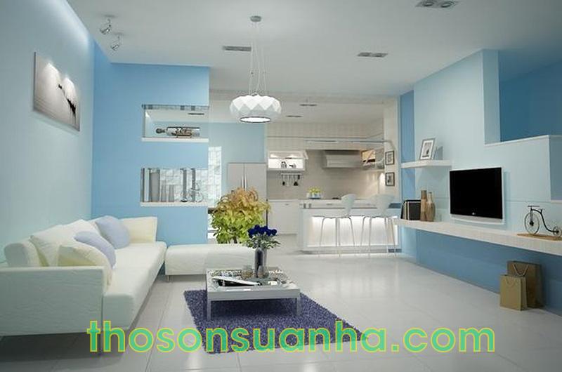 Sơn tường phòng khách màu xanh dương trẻ trung