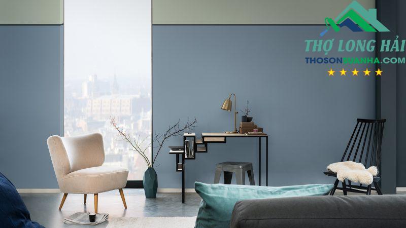 Một không gian luôn mới mẻ và tươi mới. Bạn có thể chọn <strong>hiệu ứng tường 2 màu</strong> để có thể kết hợp 2 loại màu xanh.