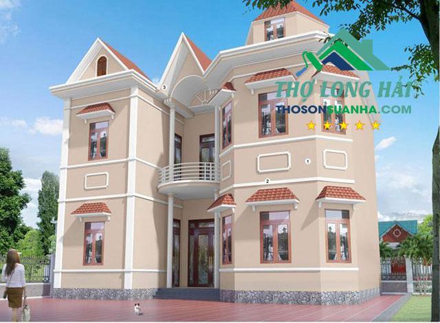 Sử dụng màu sơn White BS 9102 cho diện tượng và các cột hay các đường viền chỉ nổi lại tạo nổi bật khác lạ cho ngôi nhà