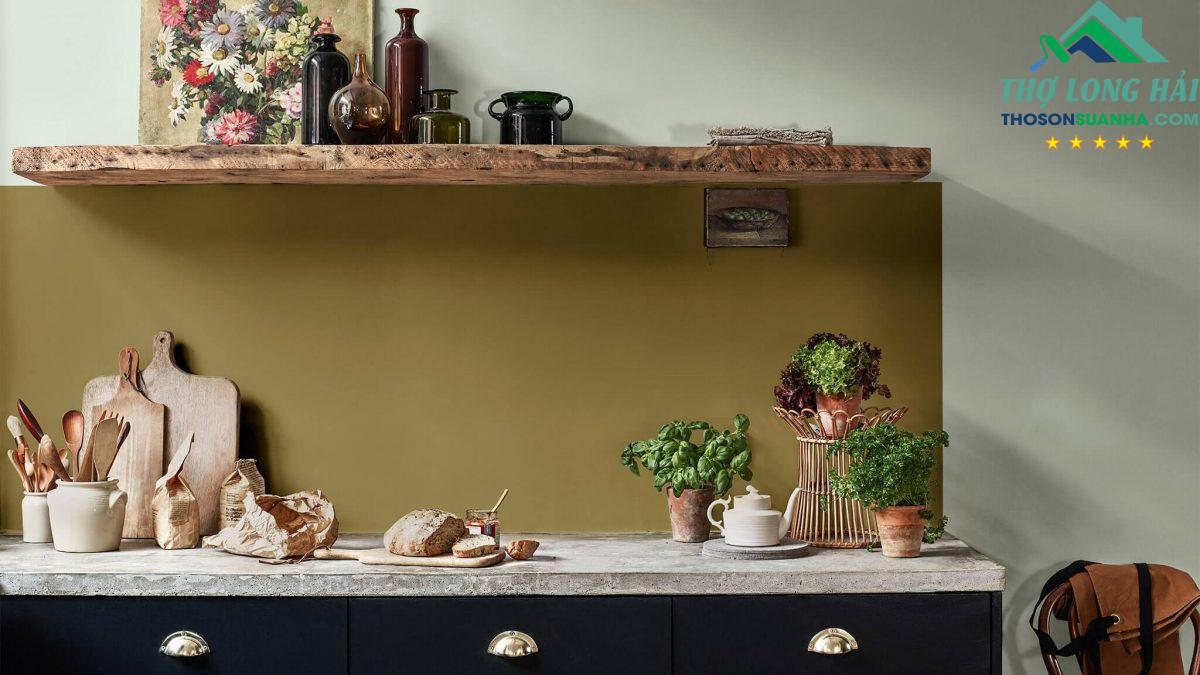 dùng xanh ban mai trang trí bếp