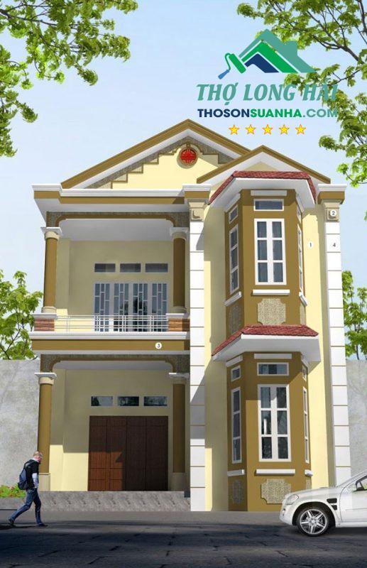 Ngôi nhà sang chảnh với Màu nâu Cocoa Mix 24B-4D ở vòm mái, sảnh, cột và diện tường.