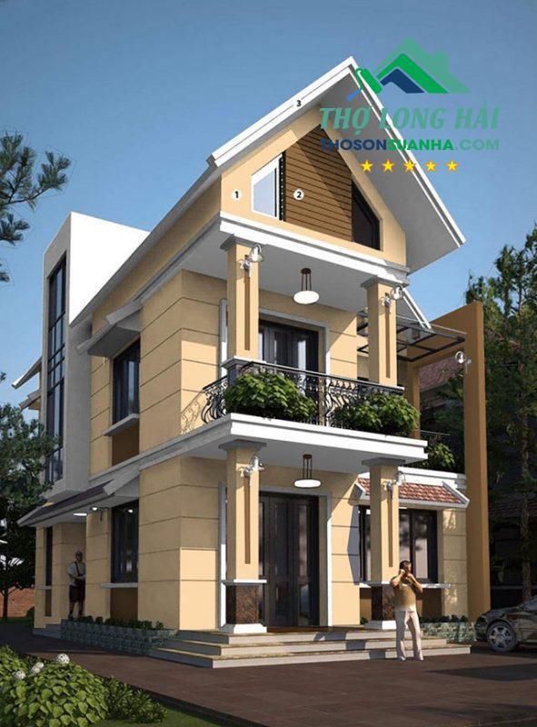 Mái dưới, cửa sổ dưới hay một phần diện tường sử dụng màu nâu Fudge 24C-4D tạo được điểm nhấn tốt hơn cho ngôi nhà